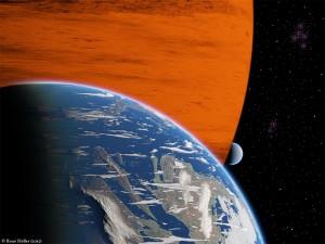 Zwei Exomonde auf der ihrer Umlaufbahn um einen Planeten.
